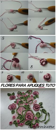 Tutorial Flores para Apliques de Crochet - Patrones Crochet