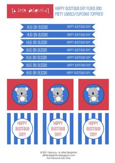 a little delightful: printables Australia Day free kids party printables Party Printables, Free Printables, Australian Party, Aus Day, Anzac Day, Thing 1, Australia Day, Cupcakes, Party Themes