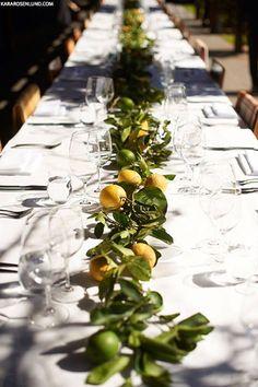 Lemon centrepieces | Outdoor Dining Inspiration
