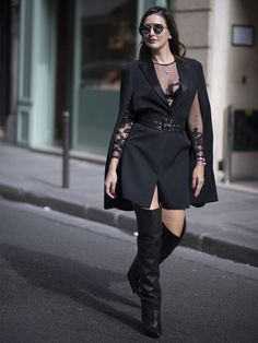 Black thigh boots outfit