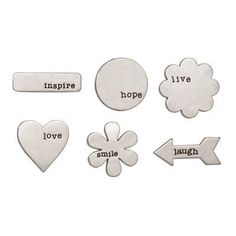 "Z1882 -- Base & Bling Word Accents -- $5.95. 12 metal shapes with engraved words, 2 each of 6 designs, adhesive-backed, ¾"" – 1"", antique silver-look finish. SHOP: www.keeleyskreations.ctmh.com"