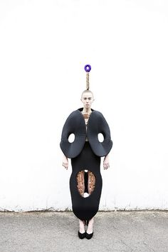 Artistic Fashion - soft sculptural silhouette with rounded shapes & bold cutout detail; experimental 3D fashion // Minky Ha