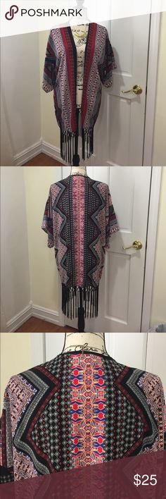 "🆕Colorful kimono! 100% polyester, length is 30"" up to right above the fringe portion. ♦️tag is labeled size small. Tyche Accessories Scarves & Wraps"