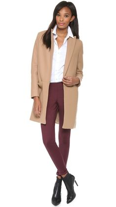 Theory Camel Coat, button down, cropped high waisted pants, Tibi elastic booties