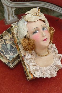 RARE Antique French Boudoir Doll Head Box Paris 1920 Silk | eBay
