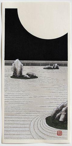 Kato TERUHIDE (born 1936): Moonlight at Ryoan Temple Kato, Woodblock Print, Moonlight, Temple, Japanese, Celestial, Artist, Outdoor, Outdoors