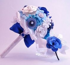 Handmade Blue Paper Bouquet  Unique Flowers for by FAVCreations, $118.00