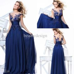 Wholesale Cheap ! 20131010 Hot dark blue chiffon A line floor length evening dresses bateau cap sleeves applique sequins prom gowns TE 92130, Free shipping, $102.73/Piece | DHgate Mobile