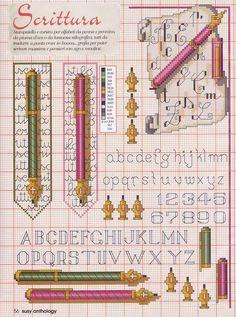 0 point de croix grille et couleurs de fils abécédaire alphabet et stylo plume