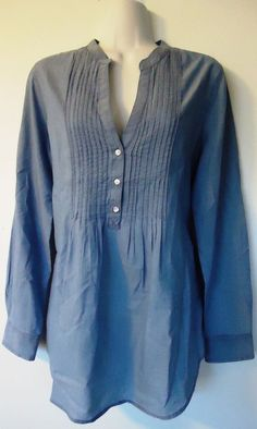 Old Navy Chambray Long Sleeve Tunic size M Pleated V-Neck Tie Back Oxford Shirt #OldNavy #Tunic #Casual