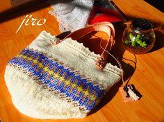 ビーズ編みのトートバッグ・・・輪針編み