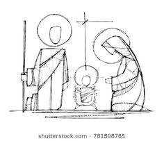 Hand drawn vector ink illustration or drawing of Jesus, Virgin Mary and Saint Joseph at Nativity