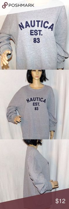 Nautica Est 83 Sweatshirt. Sewn on letters Vintage Nautica Est 83 Sweatshirt. Sewn on letters Vintage sweatshirt NFL Size XL LOW & Fast Shipping. Really nice gray sweatshirt, in fact, one of the nicest vintage ones I've seen it has the old Nautica label. It also has sewn on letters like a letterman's jacket. Also it expands on the side if you have other clothing on  (took pictures of that) they just don't make them like this anymore. It is in excellent vintage condition may never have been…