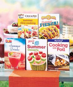 Discover refreshing recipes from Jell-O, Cool Whip, Ortega®, Dole® and more in this Brand Name Summer Cooking 5-Book Set. From appetizers to entrees, drinks to desserts, these recipes will get you through summer suppers