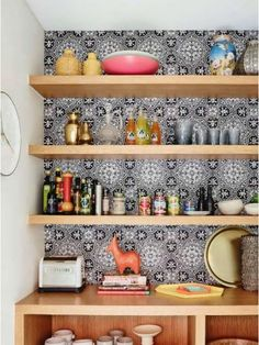 Decluttering expert shares his tips for the perfectly organised pantry of your dreams in 5 easy steps - hit the link in our bio to learn how! Photography by Styling by Home Improvement, Wallpaper, House Styles, Staircase, Country Cottage Kitchen, Rustic Country, Removable Wallpaper, Stained Staircase, Home Decor