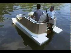This was the maiden launch of our prototype, mini pontoon boat that Mark and I built out of Styrofoam. It is mainly raw Styrofoam at this point, but we wante. Electric Pontoon Boat, Small Pontoon Boats, Fishing Pontoon Boats, Small Boats, Make A Boat, Diy Boat, Boat Projects, Wood Boats, Boat Stuff