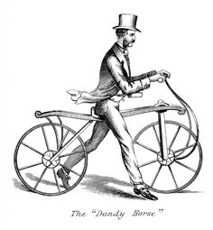 "Unusual Walking Bicycle  This one is from a Circa 1850′s Print. Shown above is a man on what appears to be a walking Bicycle. There are no pedals! I can't think what the point of this would be except, that I guess you could ride it down hills. Very strange and quite unusual! The name if this bike is ""The Dandy Horse""."