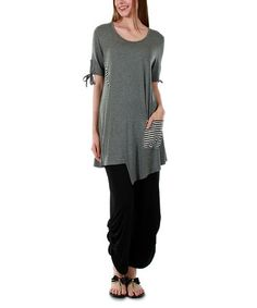 Another great find on #zulily! Gray Stripe-Contrast Tunic & Black Button Harem Pants #zulilyfinds