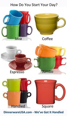 Fiesta Mugs - Java, Coffee, Espresso, Jumbo, Handled & Square #Fiestacoffeemugs - The perfect way to start the day. http://www.dinnerwareusa.com/shop/catalog/handler~event~browse~cat_id~113.htm
