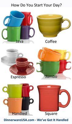 Fiesta Mugs - Java, Coffee, Espresso, Jumbo, Handled & Square #Fiestacoffeemugs - The perfect way to start the day. http://www.dinnerwareusa.com/shop/catalog/handler~event~browse~cat_id~113.htm