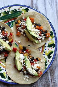 Roasted Vegetable and Black Bean Tacos - #recipe from RecipeGirl.com