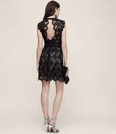 REISS - SAMI LACE OPEN-BACK DRESS