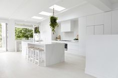 Hey gang I hope you've been enjoying KITCHEN WEEK as much as me ;-)) I'm now living with my new white kitchen (yes I know it's very white) and can assure you it's totally turned out better than I ever expected. A huge shout out to the kitchen master, R New Kitchen, Kitchen Decor, Kitchen Stools, Wooden Kitchen, Küchen Design, House Design, Design Ideas, Engineered Timber Flooring, Three Birds Renovations