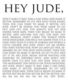 """16"""" x 20"""" hey Jude lyric print -> turn you or your child's favorite song into a piece of art!    $50 framed, $35 print only"""