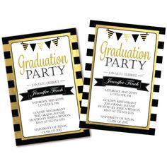 Black white stripe graduation party invitation black white and black white stripe graduation party invitation black white and gold graduation invite printable filmwisefo Choice Image