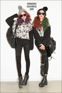 """""""impressive colourful hair"""" + nice outfits"""