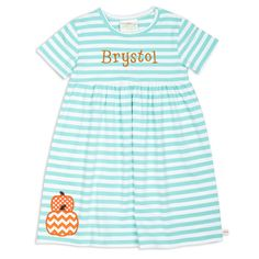 Girl's Personalized Tiffany Stripe Empire Cotton Dress – Lolly Wolly Doodle