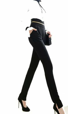 Pants Trousers Autumn Black Super Version Type Gold Chain Trousers