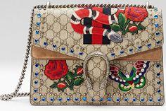 Sac Dionysus City bag London de Gucci avec un serpent, papillon et des roses