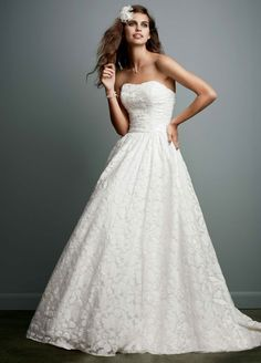 Sample: Lace Ball Gown Wedding Dress with Intricate Embroidered Details - Soft White, 0