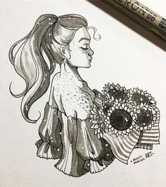 Instagram photo by juditmallolart - #inktober day 26! Sunflowers and sun kissed skin