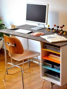 galvanized pipe desk with side storage