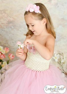 Newborn - Size 9 Elegant Ivory and Mauve Flower Girl Tutu Dress (Add 8.00 listing to cart with this for 6-9 year size)