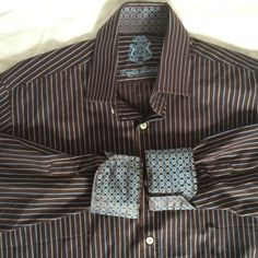 English Laundry mens dress shirt striped contrasting flip cuff size 15 32/33   eBay