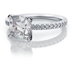 .72ctw Cushion Cut French Pave Diamond Sidestone Engagement Ring... ($1,699) ❤ liked on Polyvore featuring jewelry, rings, pave diamond engagement ring, white gold engagement rings, pave diamond ring, round ring and diamond shaped engagement rings