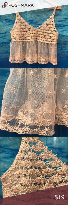 Romantic Crop Top Cream crochet and lace crop top / Size L {7} Love Tree happens Tops Crop Tops