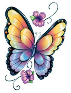 "This is a 3"" x 4"" Temporary Tattoo of a Yellow and Purple Glitter Butterfly"