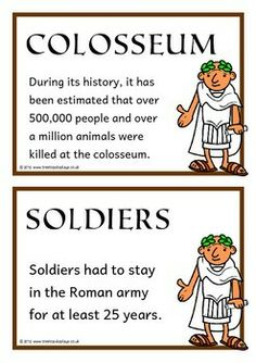 A set of 20 A5 printable fact cards that give fun and interesting facts about the Romans. Each fact card has a key word heading, making this set an excellent word bank as well! Visit our TpT store for more information and for other classroom display resources by clicking on the provided links.