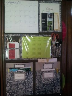 Thirty one hang up home organizer, Our family command center. There are 4 pockets, so each of us get one. Calendar at the top, the green paper are important phone numbers. Notepads, pens, scissors and invitations.