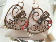 Wire wrapped  earrings cooper.