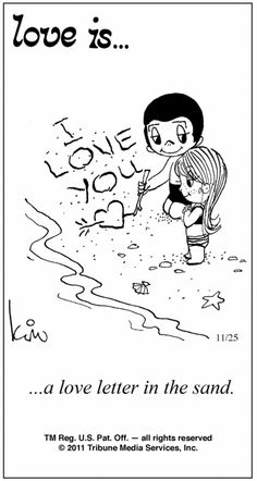 love is... a love letter in the sand.