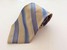 Pronto Uomo Neck Tie Yellow Blue Striped 100% Silk #ProntoUomo #NeckTie