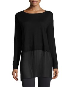 Featherweight Cashmere Box Top with Silk Block, Moon - Eileen Fisher