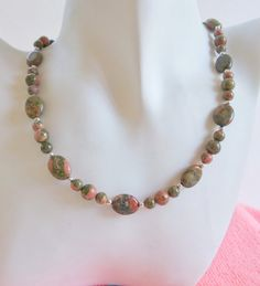 Unakite and Silver Beaded Necklace by ShadowoftheCross on Etsy