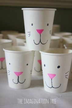 Easter Bunny Treat Cups. Make some simple and cute Easter bunny cups for going on easter egg hunts or giving treats in. It's an easy decoration and DIY gift idea for an Easter party.