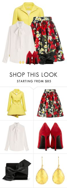 """""""red & yellow"""" by divacrafts ❤ liked on Polyvore featuring Delpozo, Dolce&Gabbana, Valentino, Yves Saint Laurent, Victoria Beckham, Latelita and Original"""